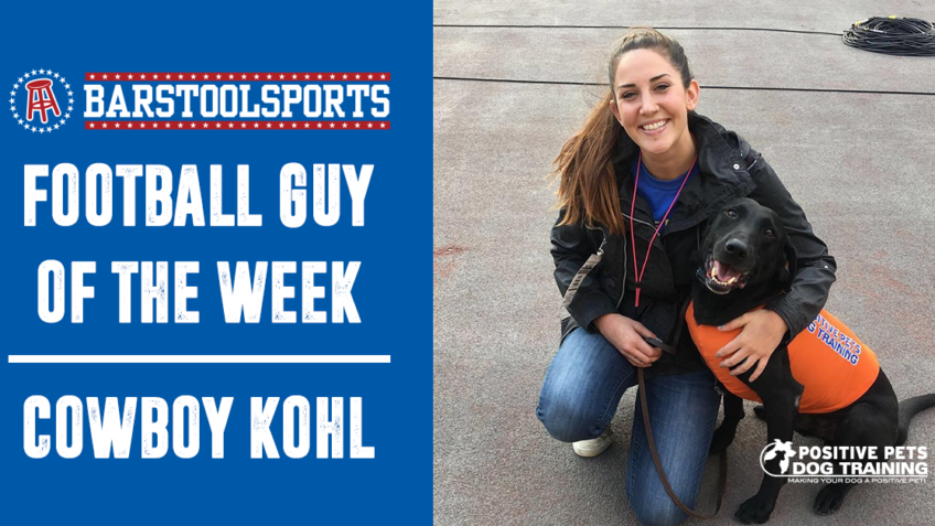 "Boise State Tee Dog, Cowboy Kohl Wins Barstool Sports ""Football Guy"" of the Week Award."